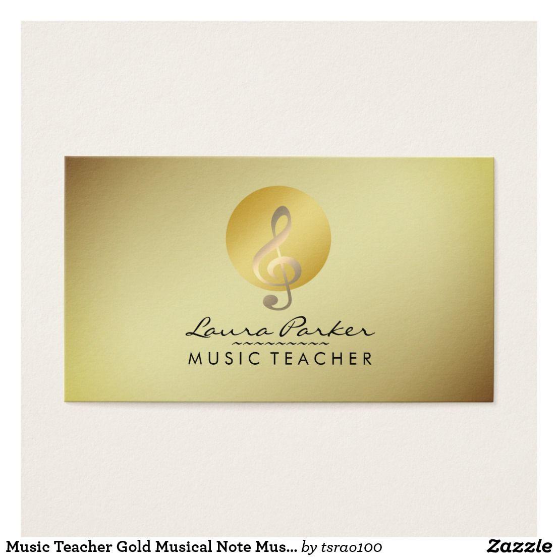 Music Teacher Gold Musical Note Musician Business Card | Music ...