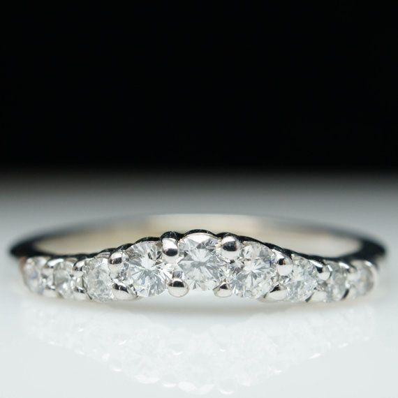Vintage 50ct Natural Diamond Curved Wedding Band Ring in 14k White