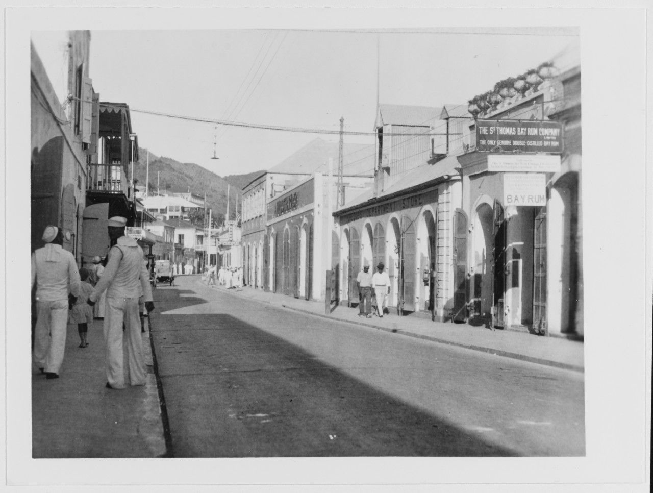 Street scene, with sailors on Liberty, circa 1928. Note