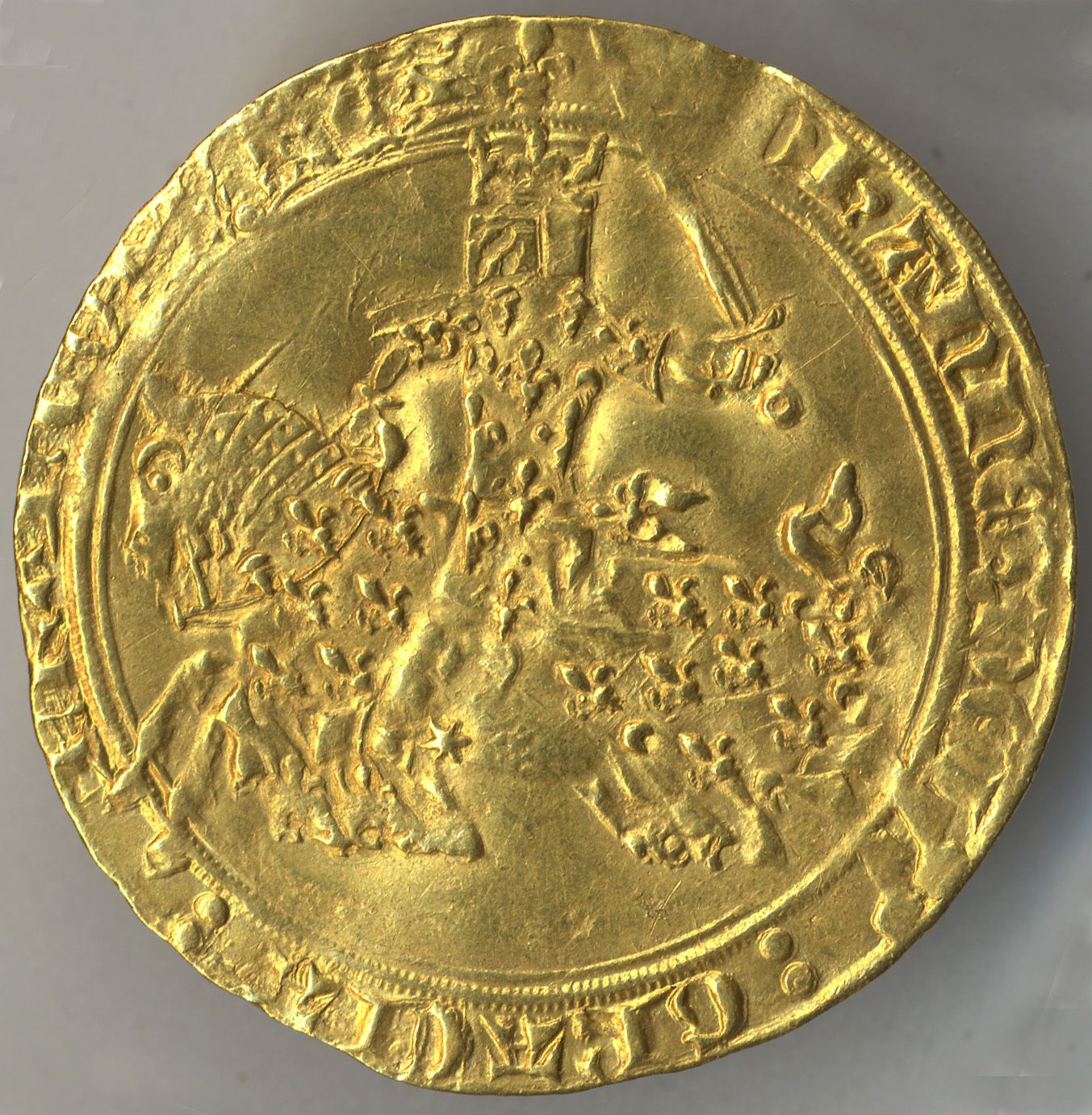 Franc à Cheval of John the Good Date: ca. 1350–64 Geography: Made in Poitiers, France Culture: French Medium: Gold