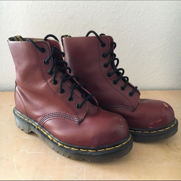 Dr. Martens cherry red steel toe boot Cherry red (burgundy) steel toe 7 eyelet boot in uk size 4 Dr. Martens Shoes Combat & Moto Boots