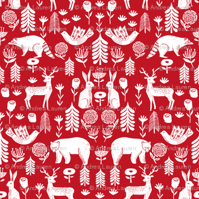 Colorful Fabrics Digitally Printed By Spoonflower Christmas Folk Scandinavian Winter Holiday Forest Animals Red In 2020 Christmas Prints Christmas Fabric Scandinavian Christmas