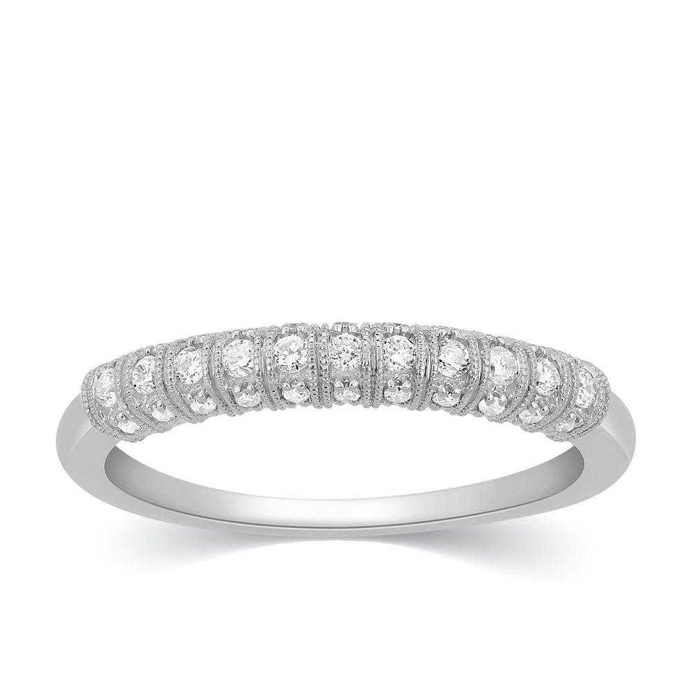 15ct Diamond 10k White Gold Wedding Stackable Ring Womens Channel