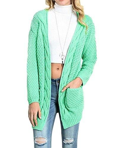 22e7bd8a5 Imily Bela Women s Boho Long Sleeve Open Front Chunky Warm Cardigans  Pointelle Pullover Sweater Blouses