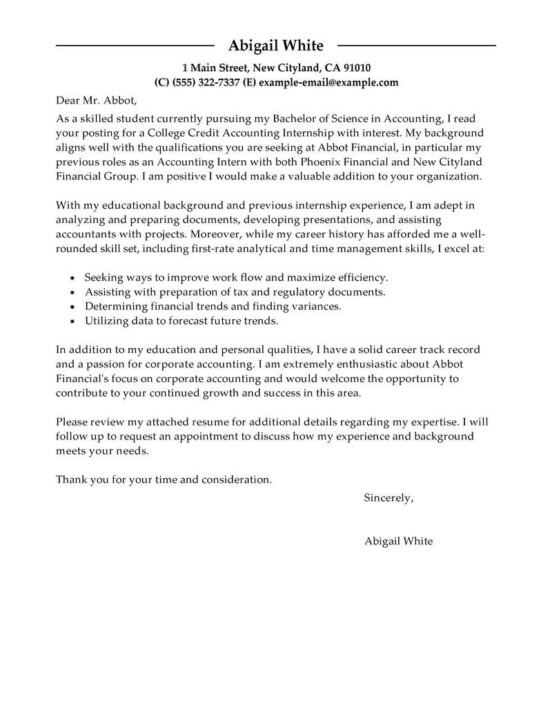 Best Training Internship College Credits Cover Letter Examples
