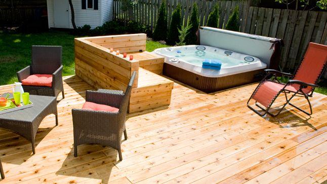 Terrasse avec spa intégré  Spa, Rénovation et Terrasses