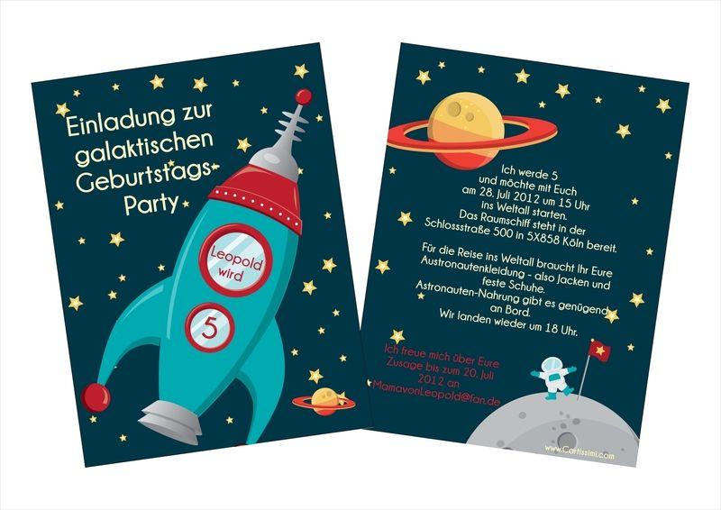 5 einladungskarten kindergeburtstag  u0026quot astronaut u0026quot  von cartissimi auf dawanda com