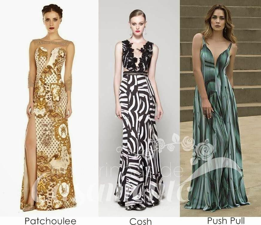 Modelo de vestido de festa estampado