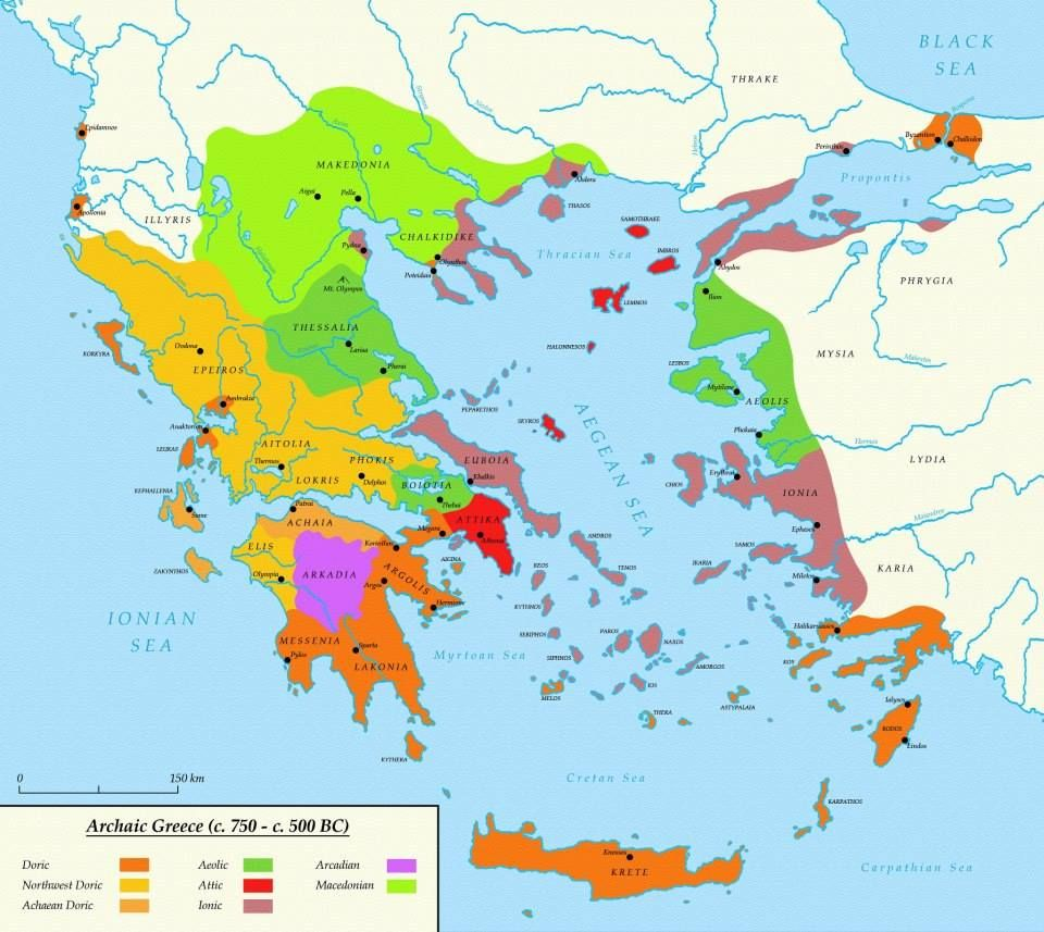 Ancient Greece map in the Aegean area a map of influence of Doric