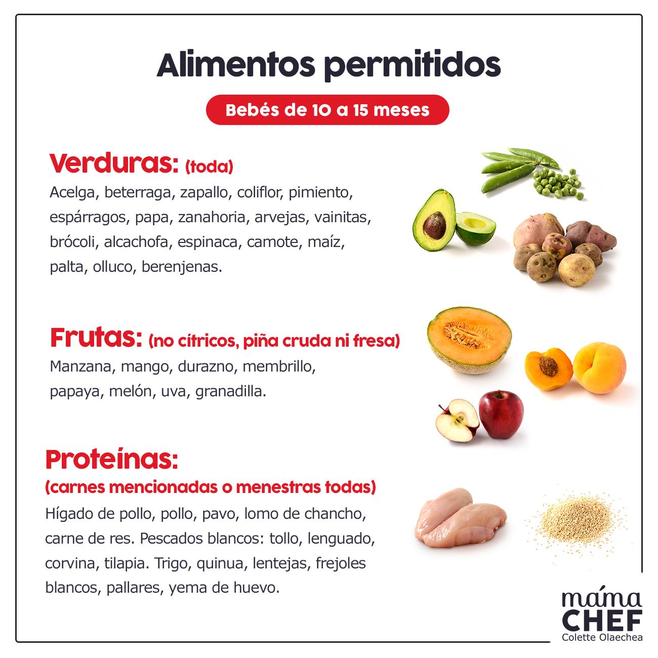 Alimentos permitidos para beb s de 10 a 15 meses mam chef colette olaechea salud bienestar - Alimentos no permitidos en el embarazo ...