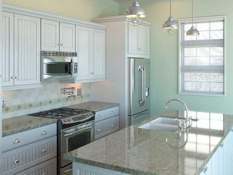 Coastal Kitchen Ideas Part - 43: Kitchens .com - Kitchen Design Boards - Casual Coastal Kitchen - Travertine  Tile Backsplash