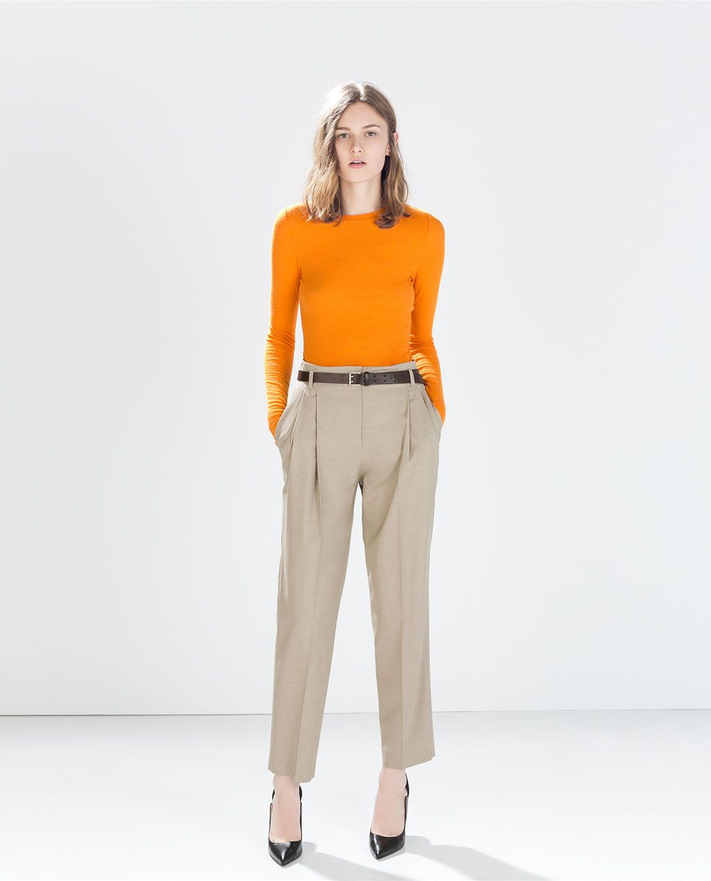 Zara - Woman - High Waisted Trousers With Belt  Bussines I Mean  Pantalones, Ropa Y Moda-4596