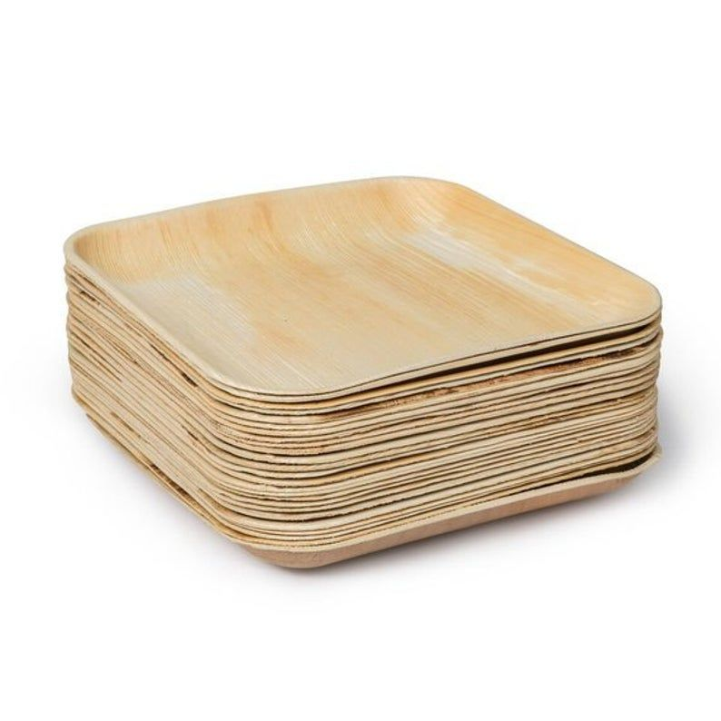 Bamboo Type Palm Leaf Disposable Square Plates 25 Plates Etsy In 2020 Square Plates Palm Leaf Plates Leaf Plates