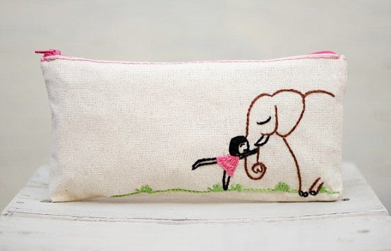elephant love girl pencil pouch / Make up Bag / pencil case/ hand embroidery on linen / neutral