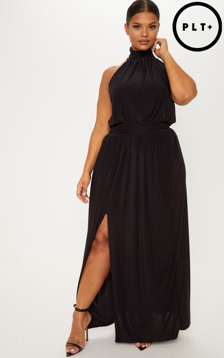 56ab26d76d2 Plus Black Asymmetric Drape Split Side Maxi Dress in 2019
