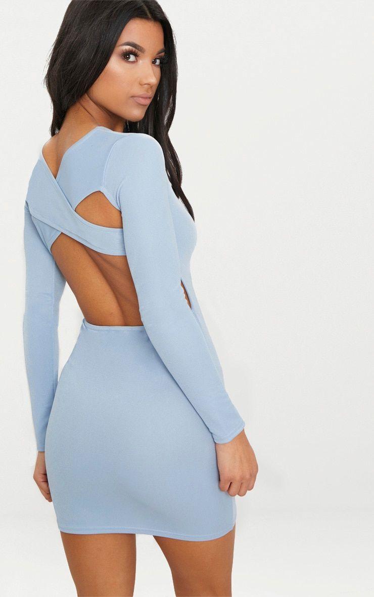 Dusky Blue Long Sleeve Cross Back Bodycon Dress Dresses Women Dress Online Bodycon Dress
