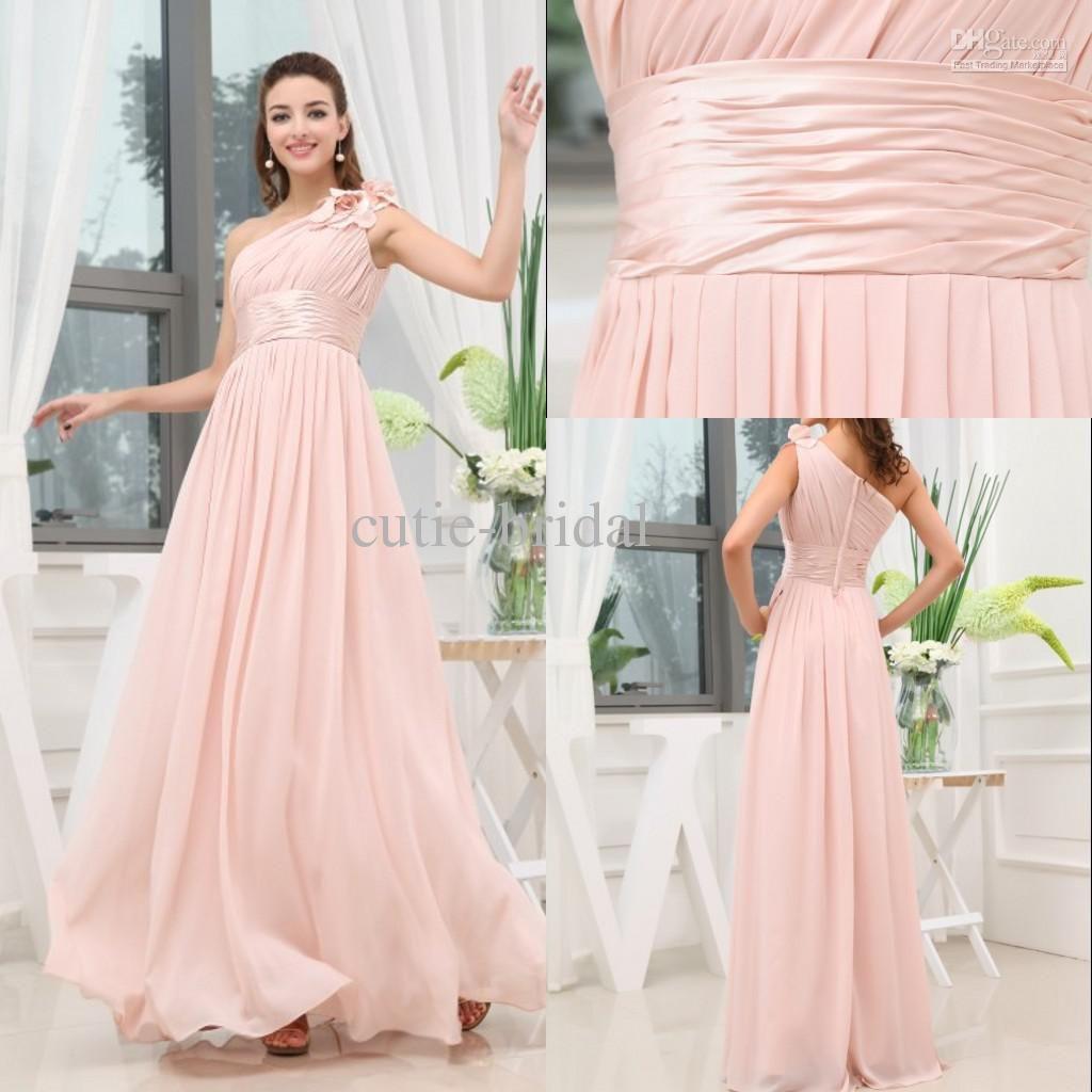 Flowers One-shoulder Floor Length Chiffon Fabric Pink Bridesmaid ...