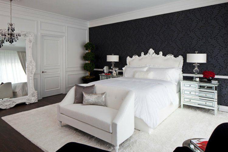 Papier peint noir - 40 idées pour un design mural spectaculaire - papier peint pour chambre a coucher