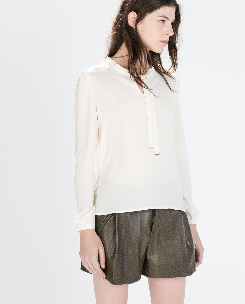 409d2056e ZARA - MUJER - BLUSA LAZO CUELLO | Vestimenta femenina | Blusas con ...