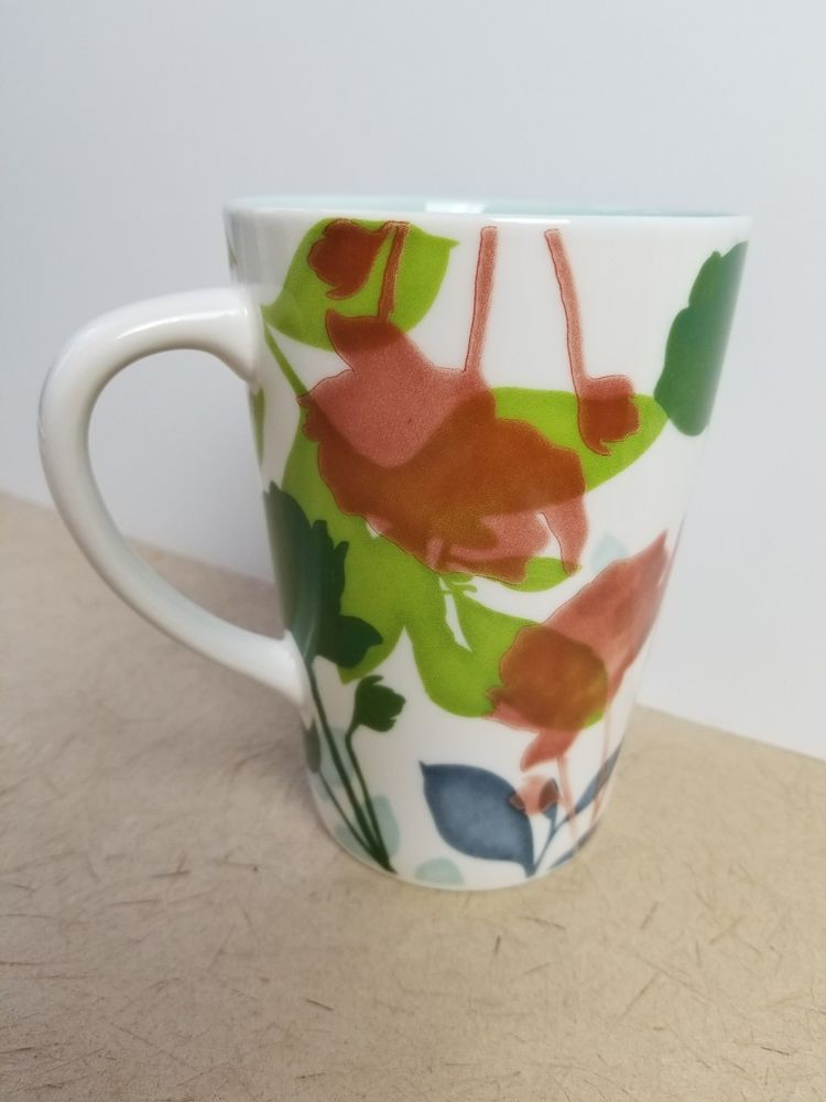 Starbucks Coffee Mug 2009 New Bone China 16 Oz Watercolor Floral Design Tea Cup Tea Cups Mugs Floral Design