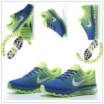 uk availability 67cda 90f84 Mode   Nike Chaussure Sport Air Max 2017 Homme Cushion Fly Line Bleu Saphir Vert  Fluorescent