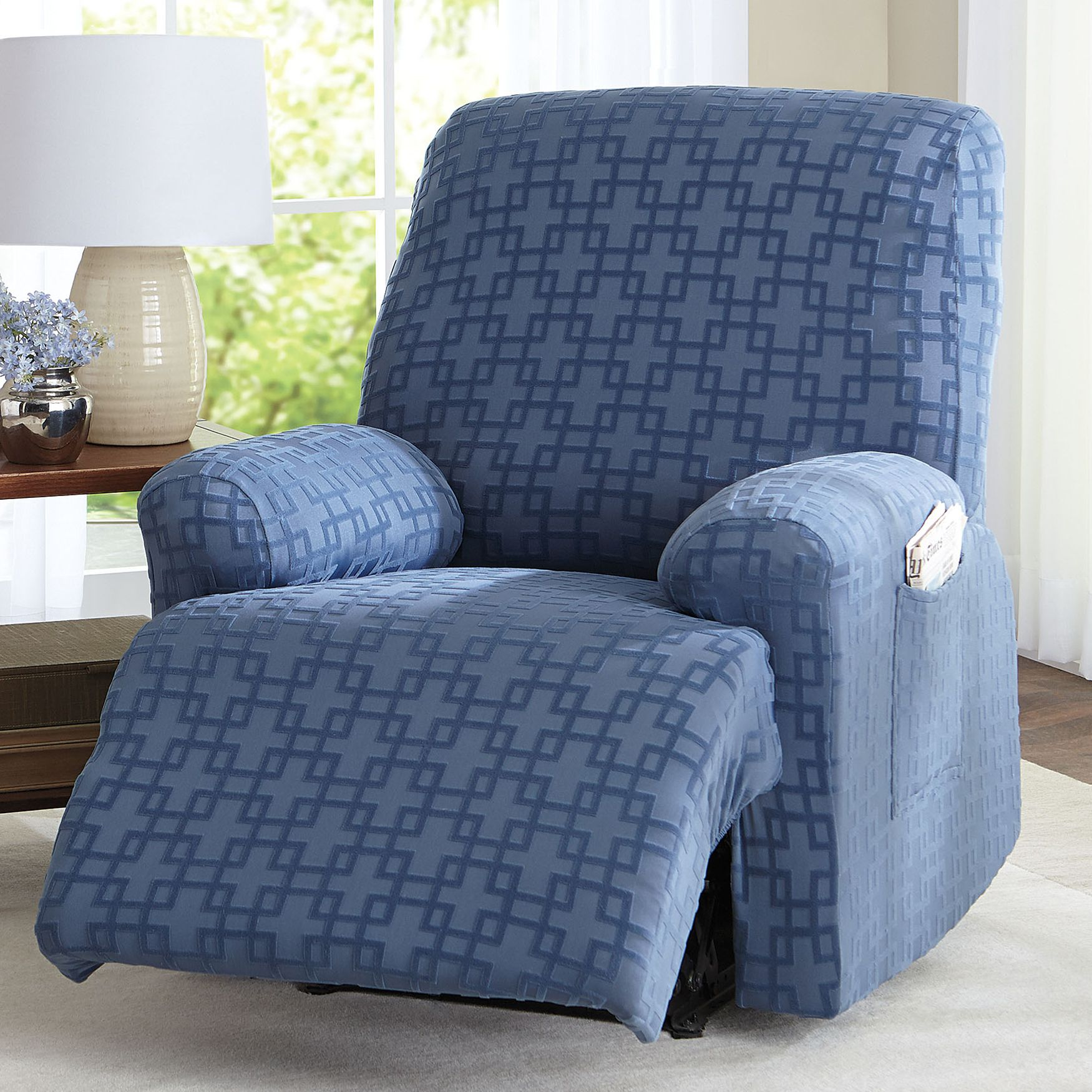 home fashions designs pin recliner form gale velvet fit silver by collection recliners for slipcover cloud slipcovers