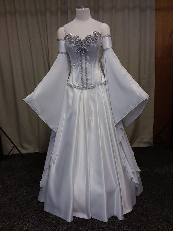 f1d7473cb6d Beautiful Elven Wedding dress. Gorgeous dress in white and silver for your  themed wedding