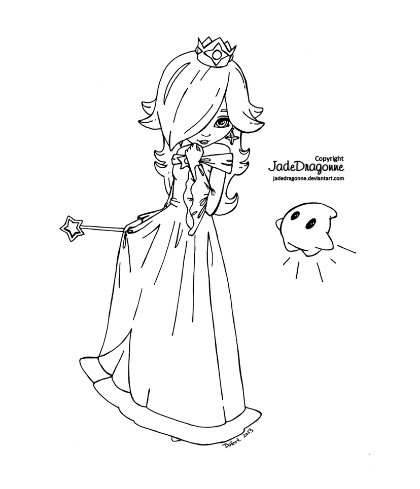 Rosalina Mario Coloring Pages. Princess Rosalina from Mario  Lineart by JadeDragonne on