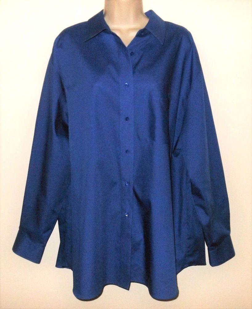 Foxcroft Shirt Wrinkle Free 22w 3x Blue Classic Fit Womens Long