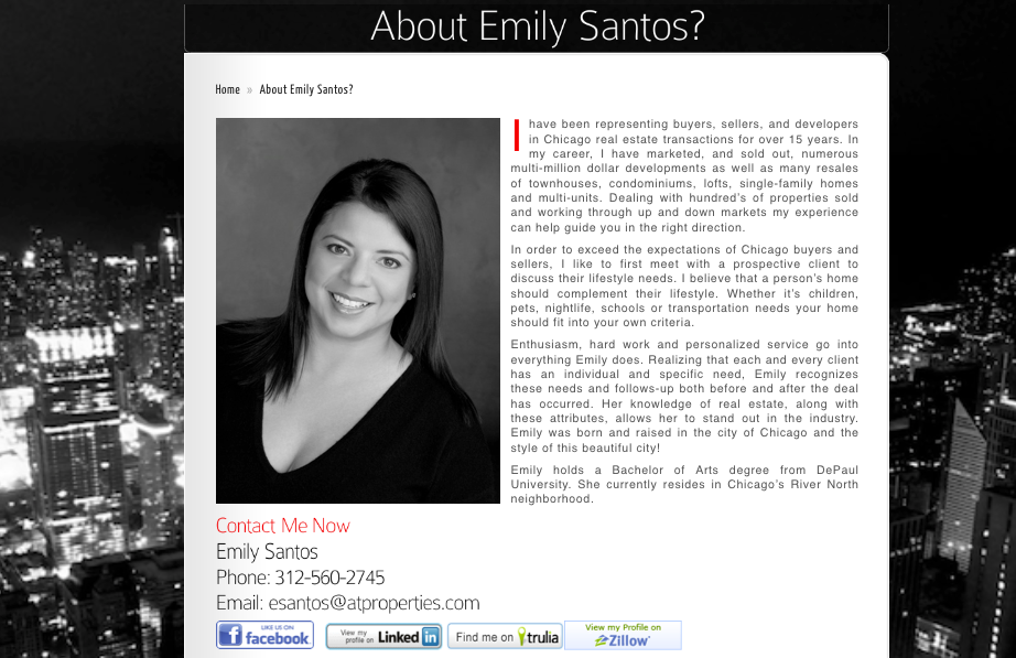 Here's an example of a short bio Realtor page with Zillow, Trulia ...