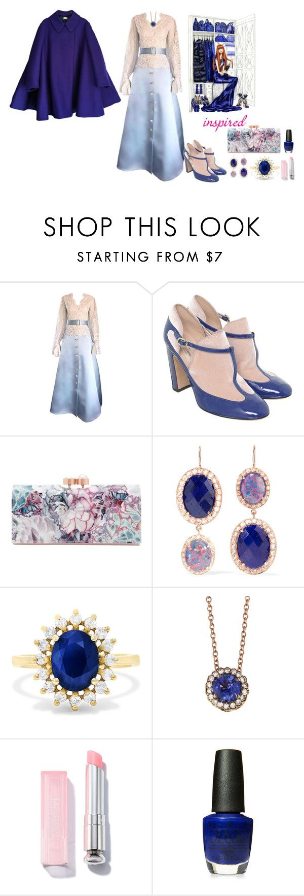 """""""Pastel Pink & Royal Blue"""" by freida-adams ❤ liked on Polyvore featuring Bill Blass, Valentino, Ted Baker, Andrea Fohrman, Effy Jewelry, Selim Mouzannar, OPI and Acne Studios"""