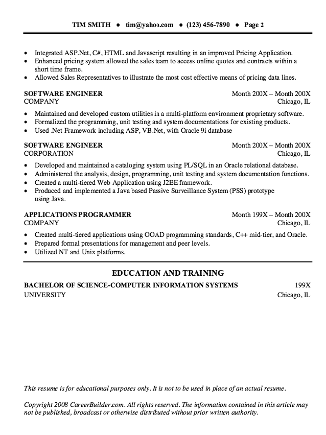 Experienced Software Engineer Resume Sample  HttpResumesdesign