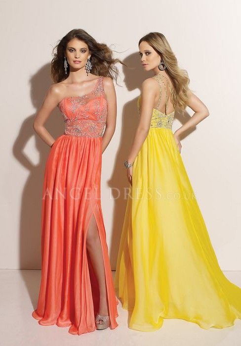 788273a5560b1 Satin Chiffon A line One Shoulder Sleeveless Floor Length Empire Evening  Dresses With Beading