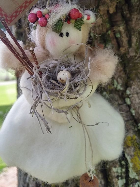 White Felted Wool Woodland Fairy, Artist Evelyn Roberts Inspired - NEW for 2016