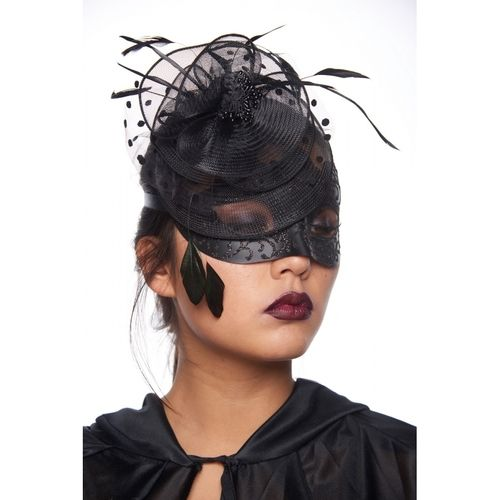 Black Fascinator Style Masquerade Mask