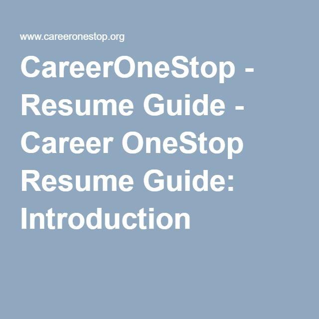 Careeronestop Resume Guide Career Onestop Resume Guide Introduction Resume Guide Resume Career