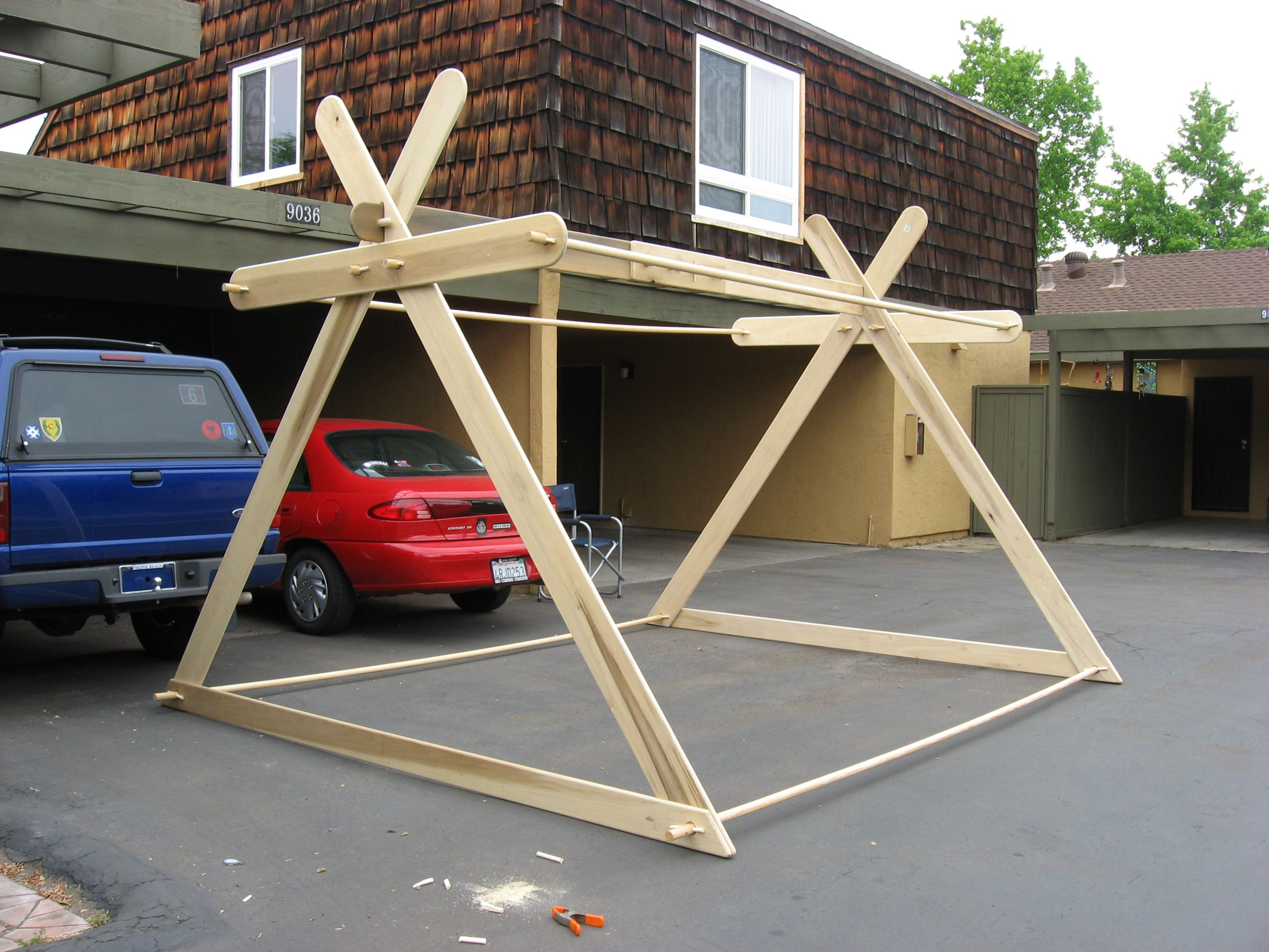 Modified A Frame style Viking tent frame & Framework for the last Modified Viking A frame tent. Used poplar ...