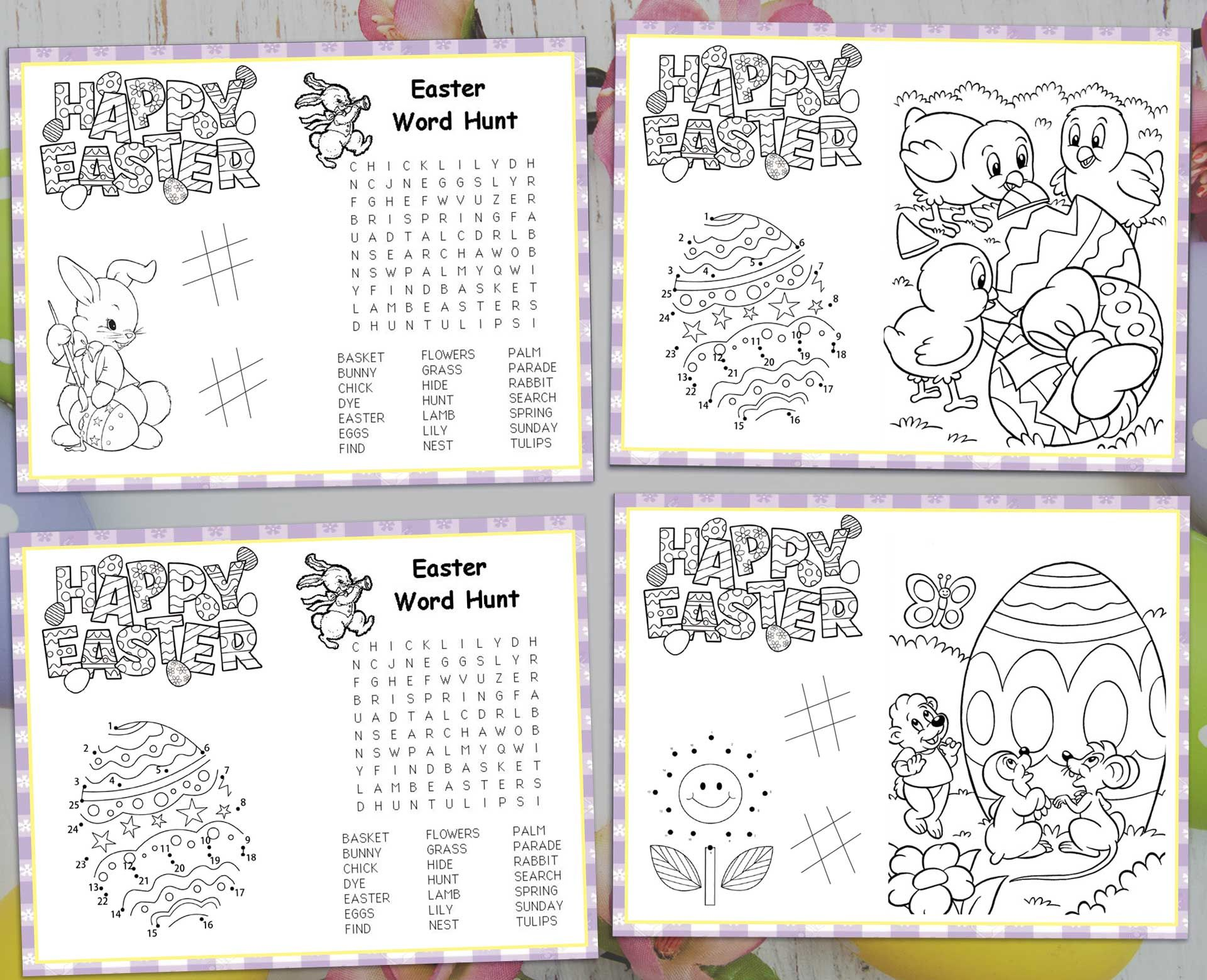 Easter activity placemat for kids set of 4 placemat templates easter activity placemat for kids set of 4 placemat templates easter holiday games decoration choose your background maxwellsz