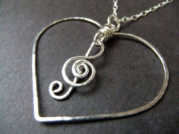 I Love Music Necklace Heart Charm Necklace G Clef by NKCollections, $60.00