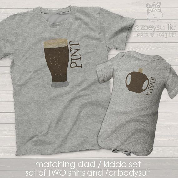 matching father son shirts - pint and half pint or choose a bodysuit gift set - great holiday or Father's Day shirts and gifts MDF1-009 gPRIQP