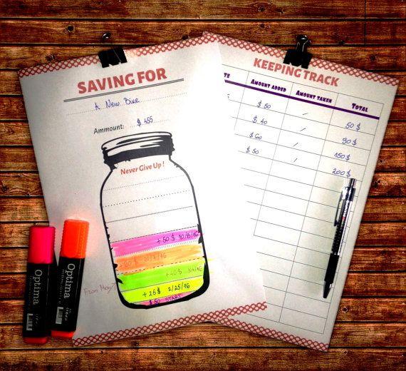 savings jar tracker printable 2 pages saving by myprintstudio