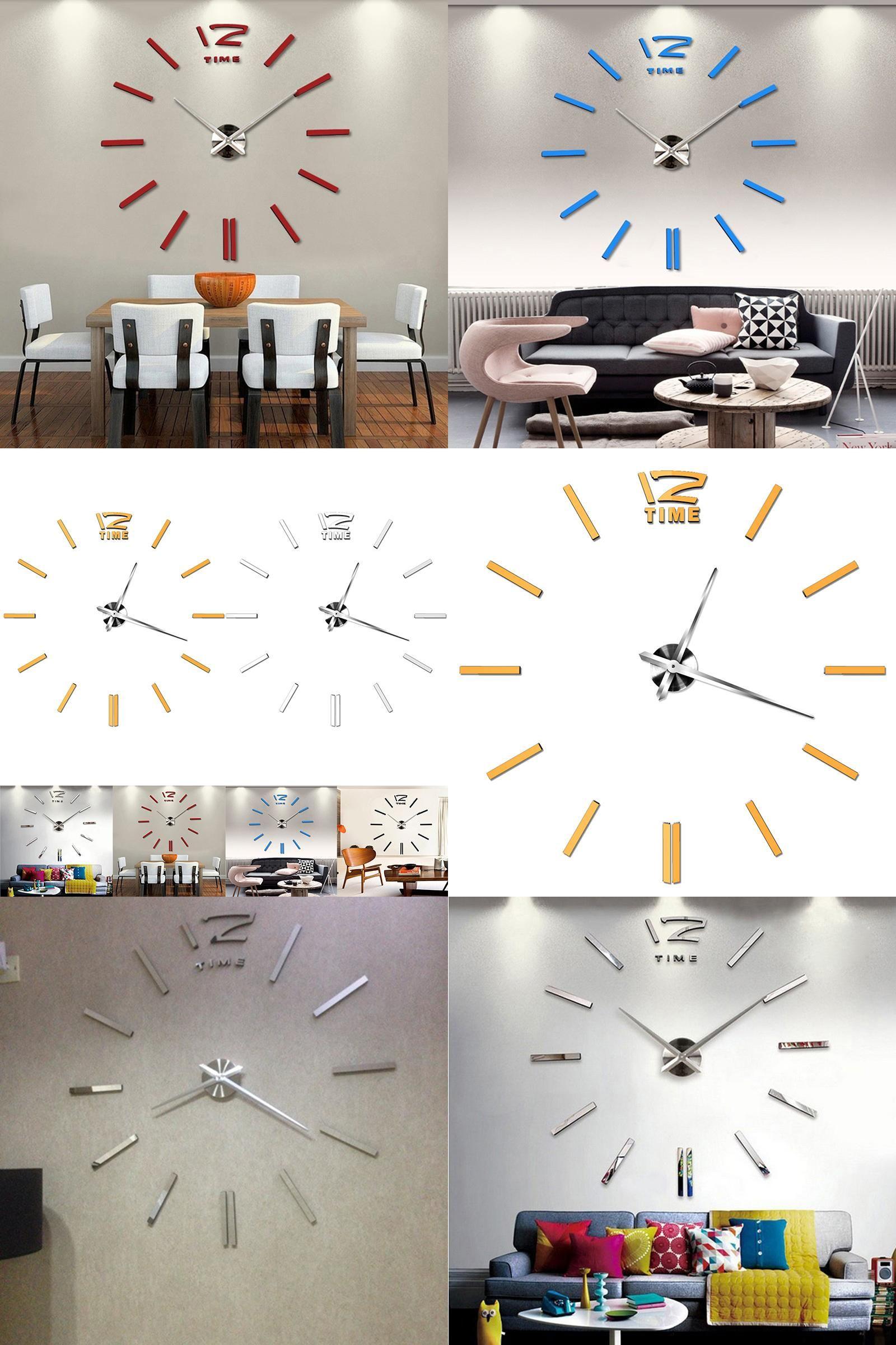 Visit to Buy] 3D Frameless Wall Clock Living Room DIY Home Decor ...