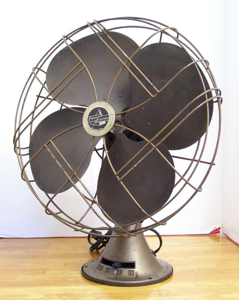 Vintage Emerson Electric Oscillating 3 Speed Fan Type 77648 Os Art Deco Antique Fans Emerson Electric Vintage Fans