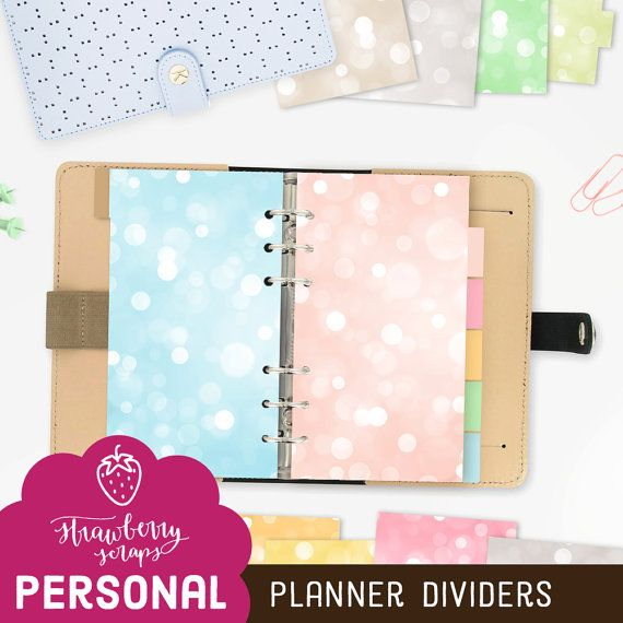 artculos similares a planner dashboard personal colorful bokeh sparkles personal dividers planner printable download decor cover planner tabs