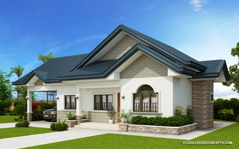 The Blue House Three Bedroom House Plan And Two Bathrooms Cool House Concepts Three Bedroom House Plan House Design Bungalow House Design