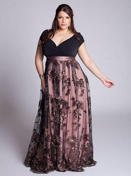 Short sleeve plus size dusty rose evening dress | Formal Dresses ...