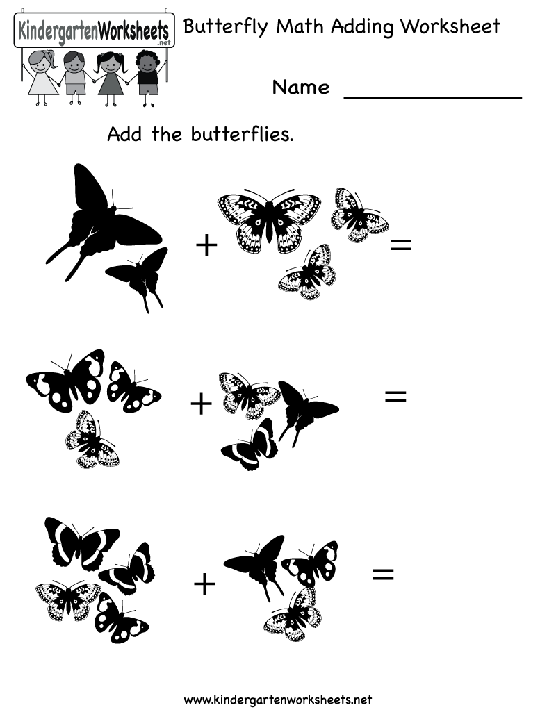 Kindergarten Butterfly Math Adding Worksheet Printable Butterfly Lessons Kindergarten Math Worksheets Free Butterfly Life Cycle Kindergarten