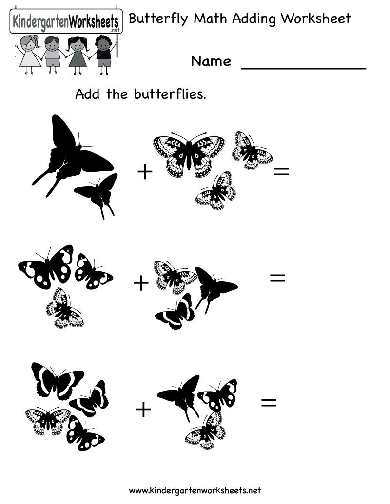 Kindergarten Butterfly Math Adding Worksheet Printable