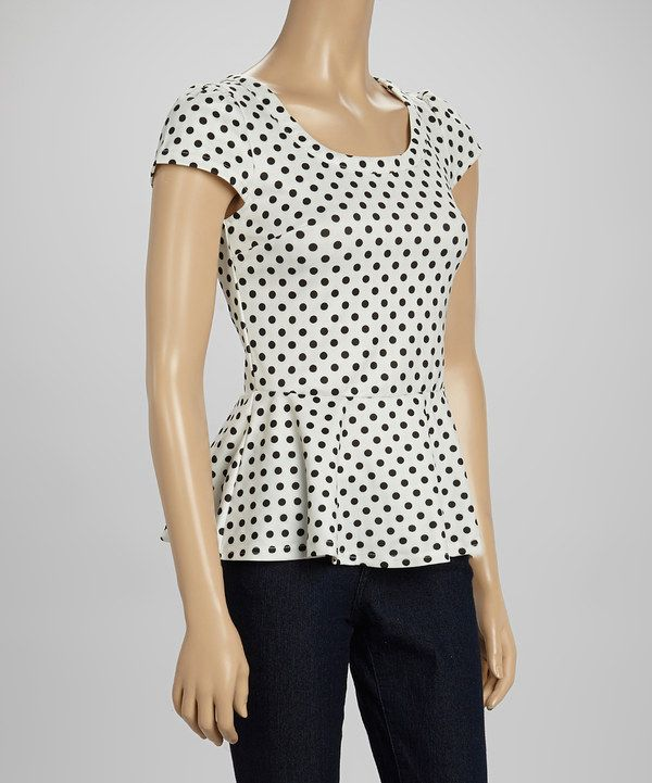 Look what I found on #zulily! Swoon White & Black Polka Dot Peplum Top by Swoon #zulilyfinds