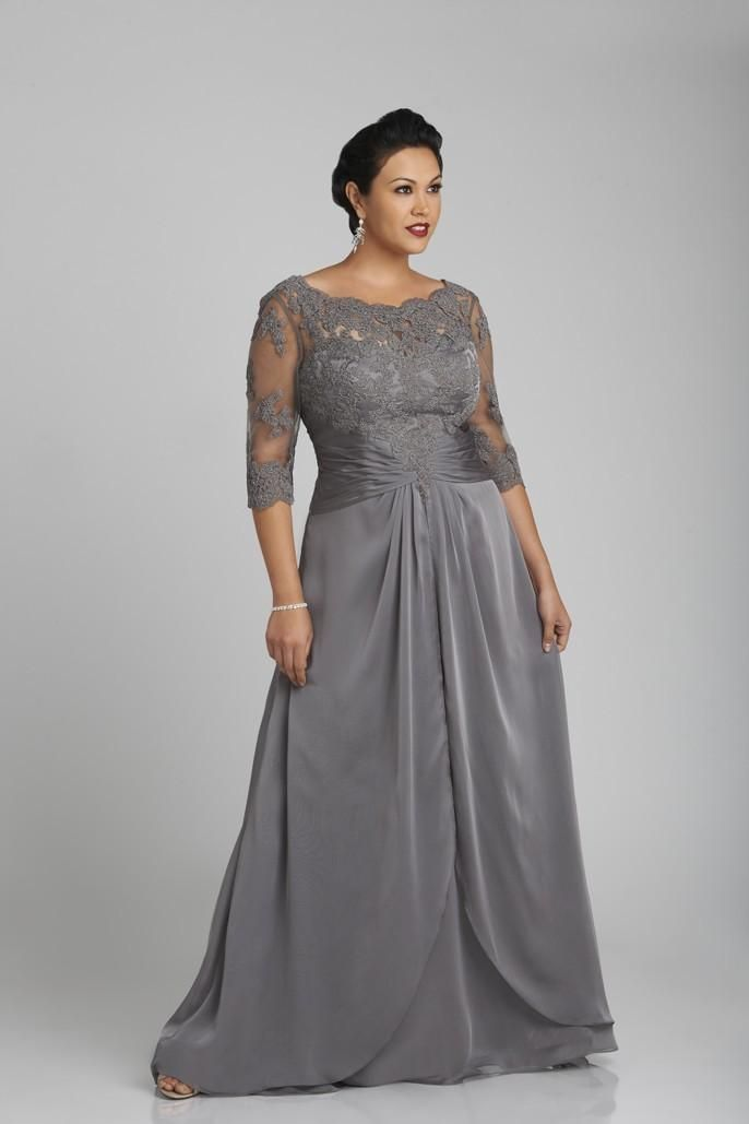 Wholesale Plus Size Silver Gray Mother Of The Bride Dresses Scoop Neck  Sheer Sleeves Applique Pleats Chiffon Bridal Mother Dress Evening Dress 8be1363a0faf